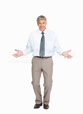 Buy stock photo Studio shot of a cheerful mature businessman against a white background