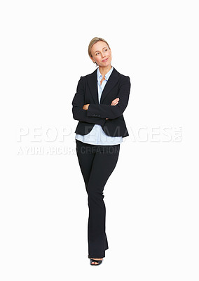 Buy stock photo Full length of business woman with arms crossed on white background