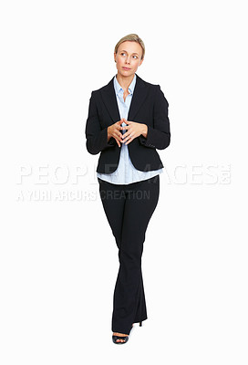 Buy stock photo Full length of confident business woman smiling with fingers joined over white background