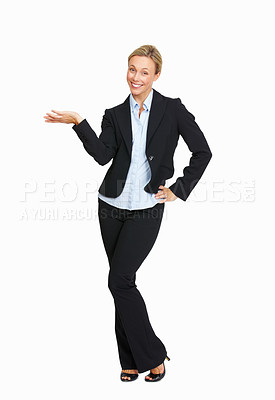 Buy stock photo Full length of beautiful business woman holding and presenting a product on white background