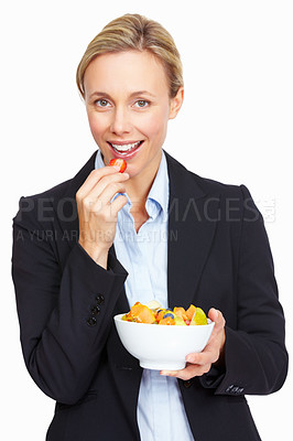 Buy stock photo Portrait of beautiful business woman eating fruit salad over white background