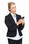 Business woman reading text