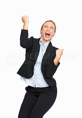 Buy stock photo Portrait of successful business woman with clenched fist over white background