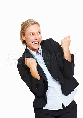 Buy stock photo Portrait of happy business woman cheering her success on white background