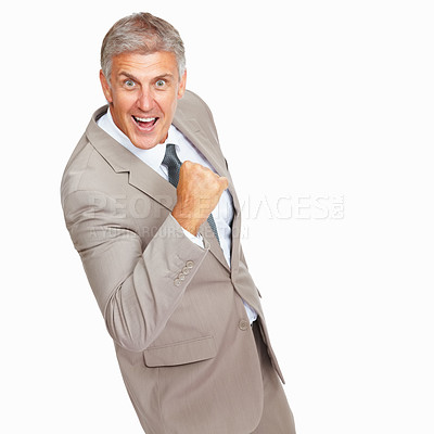Buy stock photo Studio shot of a mature businessman cheering in victory against a white background