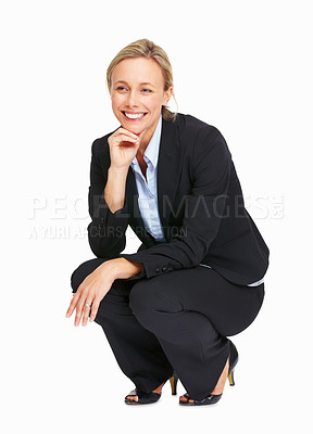 Buy stock photo Full length of beautiful business woman crouching over white background