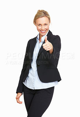 Buy stock photo Portrait business woman giving thumbs up on white background
