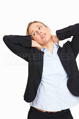 Buy stock photo Stressed business woman holding her neck on white background