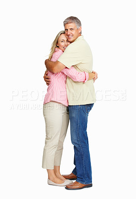 Buy stock photo Full length of happy mature embracing couple standing over white background