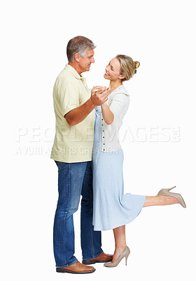 Buy stock photo Full length of beautiful mature couple dancing on white background