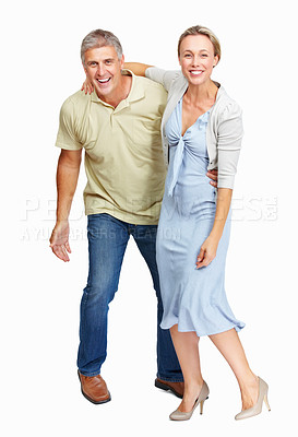 Buy stock photo Full length of mature couple having fun together on white background