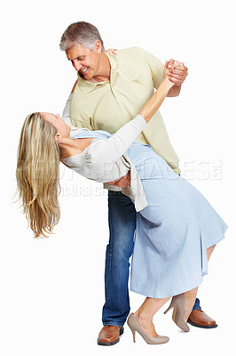Buy stock photo Full length of mature couple dancing happily over white background