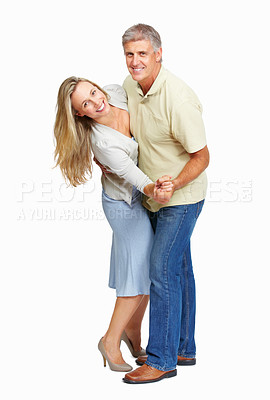 Buy stock photo Full length of mature couple dancing together on white background