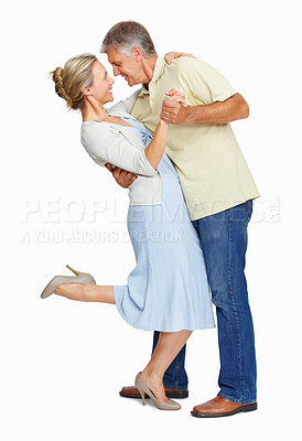 Buy stock photo Full length of mature couple in love looking at each other on white background