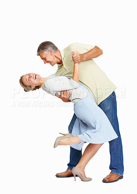 Buy stock photo Full length of happy mature couple enjoying themselves over white background