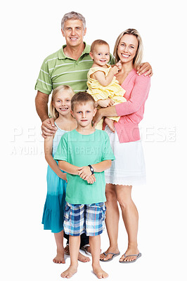 Buy stock photo Full length of cute family standing on white background