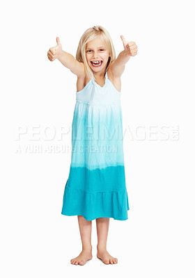 Buy stock photo Full length of young girl showing thumbs up with both hands over white background