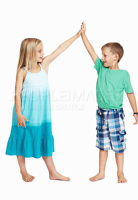 Buy stock photo Full length of girl giving high five to boy on white background