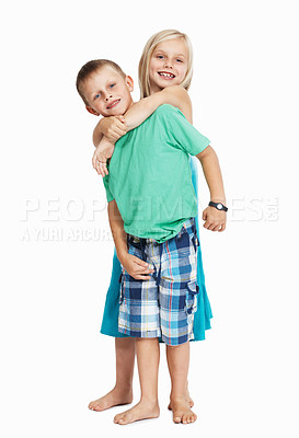 Buy stock photo Portrait of young children enjoying together on white background