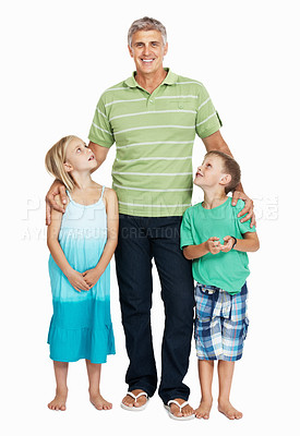 Buy stock photo Mature man standing with his children standing on white background