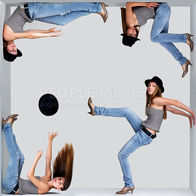 Buy stock photo Abstract collage of a young woman in different poses inside a square against grey background - copyspace