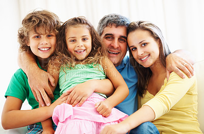 Buy stock photo Family portrait of mature father with his children