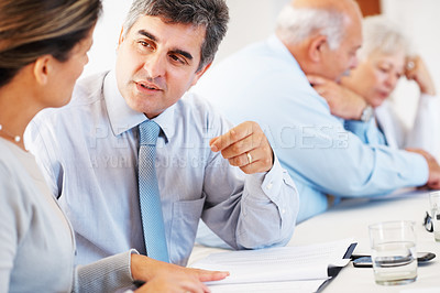 Buy stock photo Mature business man and woman having chat