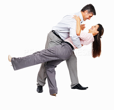 Buy stock photo Full length of successful business couple dancing on white background
