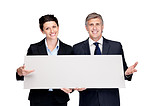 Happy bussiness colleagues displaying a empty billboard on white