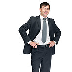 Successful businessman standing on white