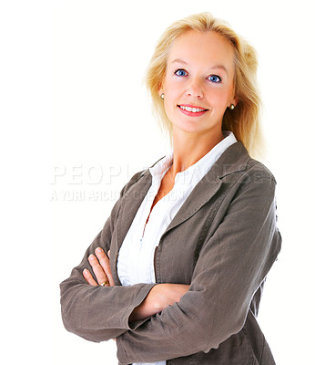 Buy stock photo Portrait of a mature businesswoman standing with her arms crossed and smiling at the camera isolated on a white background