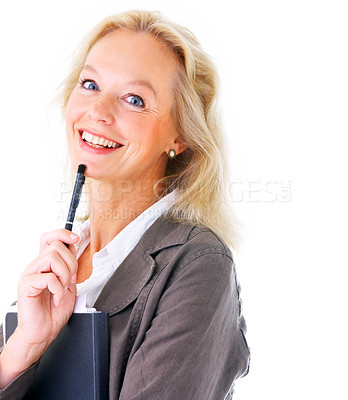 Buy stock photo Studio portrait of a mature businesswoman holding a file isolated on white