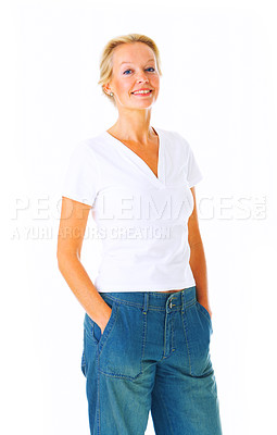 Buy stock photo Studio portait of a mature woman standing with her hands in her pockets isolated on white