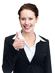 Happy young female entrepreneur showing thumbs up sign