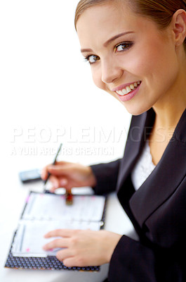 Buy stock photo Portrait of a young businesswoman going through her dayplanner