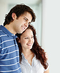 Romantic and cute young couple smiling together