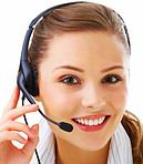 Closeup of a smiling receptionist isolated over white background
