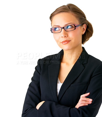 Buy stock photo Portrait of a young businesswoman gazing out of the corner of her eyes.