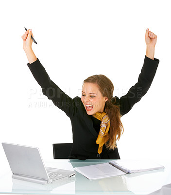 Buy stock photo Portrait of an attractive businesswoman with her arms raised in celebration. Celebrating