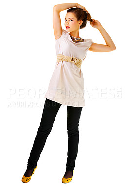 Buy stock photo Fashionable female portrait - Fashion full body shot of a gorgeous young woman posing. Isolated.