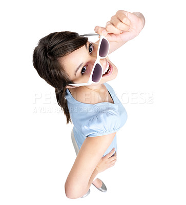 Buy stock photo Top view of a smiling young female wearing sunglasses against white