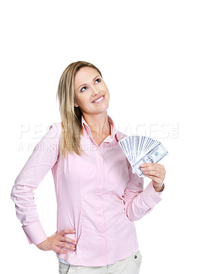 Buy stock photo Happy young woman thinking where to invest her money on white background