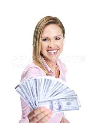 Buy stock photo Portrait of a happy young lady holding cash in hand on white background