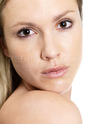 Buy stock photo Closeup portrait of a confident young female looking at you