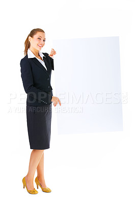 Buy stock photo Isolate of a business woman standing beside a blank board. Ready for you to add text or graphics.