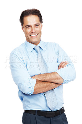 Buy stock photo Portrait of a businessman standing against a white background