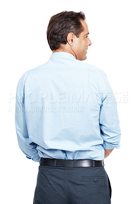 Buy stock photo Rearview studio shot of a businessman looking at copyspace to the right