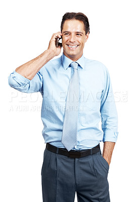 Buy stock photo A successful businessman smiling while speaking on his cellphone against a white background
