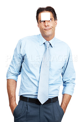 Buy stock photo A businessman with a sticky note on his forehead against a white background