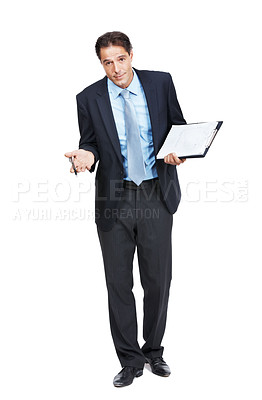 Buy stock photo A businessman holding a clipboard with a questioning facial expression isolated on white